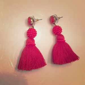 J Crew red tassel earrings!
